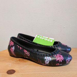 NWT Crocs Lina Lux Ballet Flat Floral Studded 7
